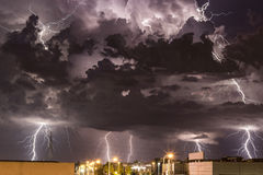 Lightning bolts. Storm above Zagreb, the capital of Croatia. The date of this storm is 7.7.2014. Lightning bolts Stock Images