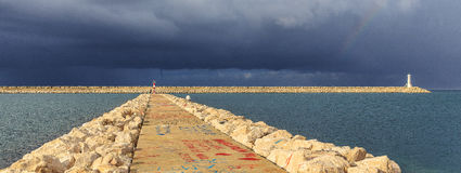 Before the storm. In Adriatic sea stock photos