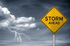 Storm ahead - street sign Stock Images