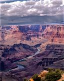 Storm Approaching Grand Canyon. Threatening clouds and rain approach the South Rim of the Grand Canyon coming from the North royalty free stock image