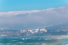 storm approches de mauvais temps sur la ville image stock