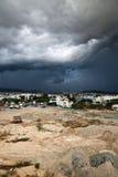 Storm arose over city. Sun-spot before storm arose royalty free stock photos