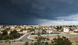 Storm arose over city. Limassol city before the storm royalty free stock image