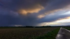 Storm in autumn over a field stock video