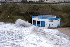 Storm at Ballybunion sea and cliff rescue centre Stock Photo