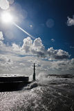 Storm in baltic sea with blue sky Stock Photos