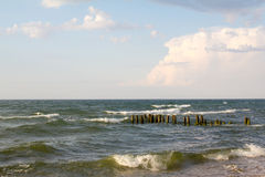 Storm on the Baltic sea before sunset. Stock Photos
