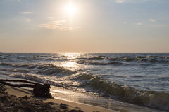 Storm on the Baltic sea before sunset. Stock Photo