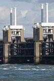 Storm barrier. Storm surge barrier in Zeeland, Netherlands. Build after the storm disaster in 1953 Stock Photography