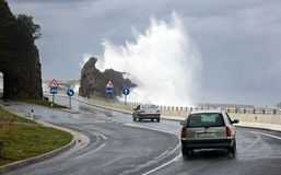 Storm at Basque Country road Royalty Free Stock Photos
