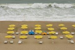 Storm on the beach. Storm on Black Sea beach of Golden Sands resort, Bulgaria Stock Photography