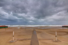 Storm at the beach. Bad weather in mediterranean beach, in tuscany Stock Photo