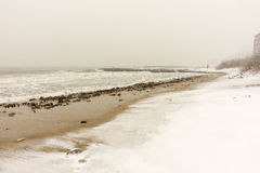 Storm the beach of Pomorie, Bulgaria, 31 december Stock Images