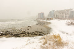 Storm the beach of Pomorie, Bulgaria, winter Royalty Free Stock Photos