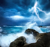 Storm beginning with lightning. Ocean storm beginning with lightning stock images