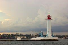 The storm begins. Vorontsov Lighthouse in Odessa, Ukraine. Royalty Free Stock Image