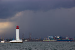 The storm begins. Vorontsov Lighthouse in Odessa, Ukraine. Royalty Free Stock Photos