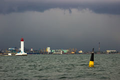 The storm begins. Vorontsov Lighthouse in Odessa, Ukraine. Stock Image