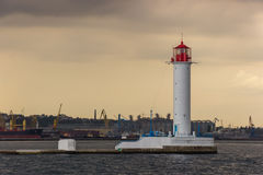 The storm begins. Vorontsov Lighthouse in Odessa, Ukraine. Royalty Free Stock Photo