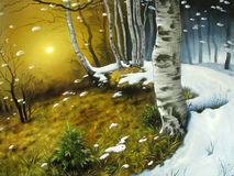 Storm in birch forest Stock Image