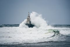 Storm in Black sea stock photography