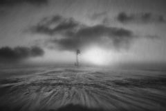 Storm in the Black Sea. Man with windsurf during a storm in the Black Sea, Bulgaria Stock Photography