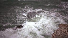 Storm on the Black Sea. The waves break on the underwater rock near the village of Tulenovo, Bulgaria.  stock footage
