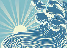 Storm in blue sea.Vector. Big waves in sun day Royalty Free Stock Photography