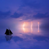 Storm boat illustration Royalty Free Stock Photography