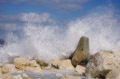 Storm on breakwater in port Varna, Black Sea, Bulgaria Royalty Free Stock Photos