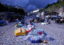 Storm Brewing over Beer fishing village Stock Image