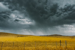 Storm brewing. A storm is brewing over crops after a sever heatwave in Melbourne Royalty Free Stock Photos