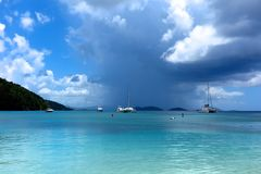 Storm brewing over tropical Caribbean sea St. John, USVI Stock Images