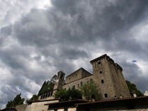 Storm brewing over Verrucola, Lunigiana. Castle, fortress in bad weather. Italy Royalty Free Stock Photo