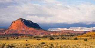 Storm Brewing Sun Hits Red Rock Walls Grand Staircase-Escalante Stock Image