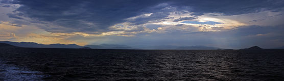 A storm build in the nearby on Mediterranean sea Stock Photography