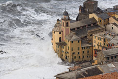 Storm in camogli royalty free stock photography