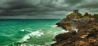 Before the storm on the Caribbean coast in the ancient Mayan city of Tulum, Mexico Royalty Free Stock Photo