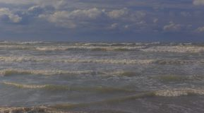Storm on the Caspian Sea coast near Baku stock photo