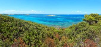 Aegean sea coast (Chalkidiki, Greece). Aegean sea coast landscape, view near Karidi beach (Chalkidiki, Greece). Two shots stitch Royalty Free Stock Photography