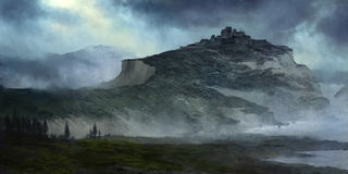 Storm Castle illustration. A digital painting of a distant castle atop a high cliff amid a storm stock illustration