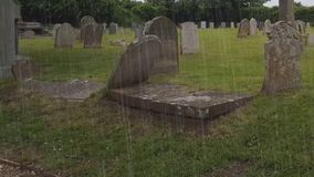 Storm in the Celtic cemetery stock footage