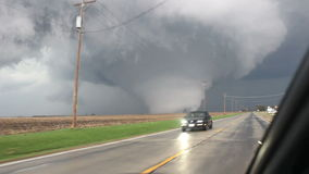 Storm chaser footage of massive tornado stock footage