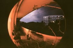 Storm In City Through Fisheye lens royalty free stock photography