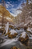 After the Storm Clears HDR. The Big cottonwood Canyon River in Big Cottonwood Canyon in the Wasatch national forest in Utah after a snow storm has moved through Royalty Free Stock Photos
