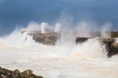 Storm on the cliff, Bufones. Tormenta en el acantilado, bufones Stock Image