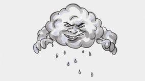 Storm cloud lightning bolt watercolor 2D Animation