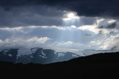 Storm clouds. Over the mountains, Norway Royalty Free Stock Photo