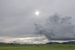Storm clouds. Over an arable landscape in Ciudad Real province, Spain Royalty Free Stock Images
