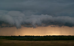 Storm clouds. Terrible storm clouds seen at the horizon during sunset Royalty Free Stock Photos